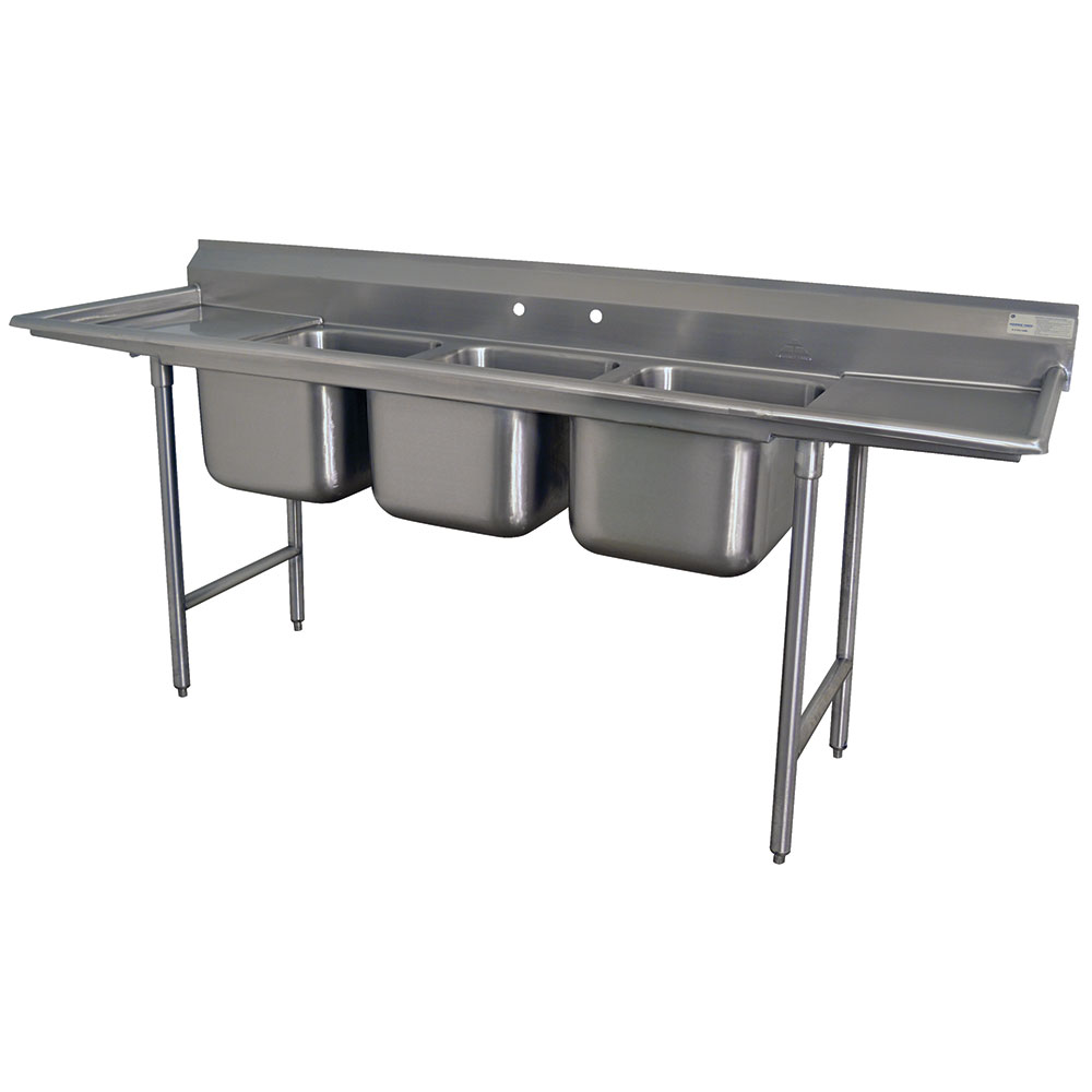 "Advance Tabco T9-63-54-24RL-X 109"" 3-Compartment Sink w/ 18""L x 24""W Bowl, 12"" Deep"