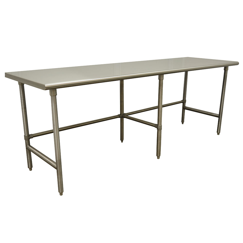 "Advance Tabco TAG-248 96"" 16-ga Work Table w/ Open Base & 430-Series Stainless Flat Top"