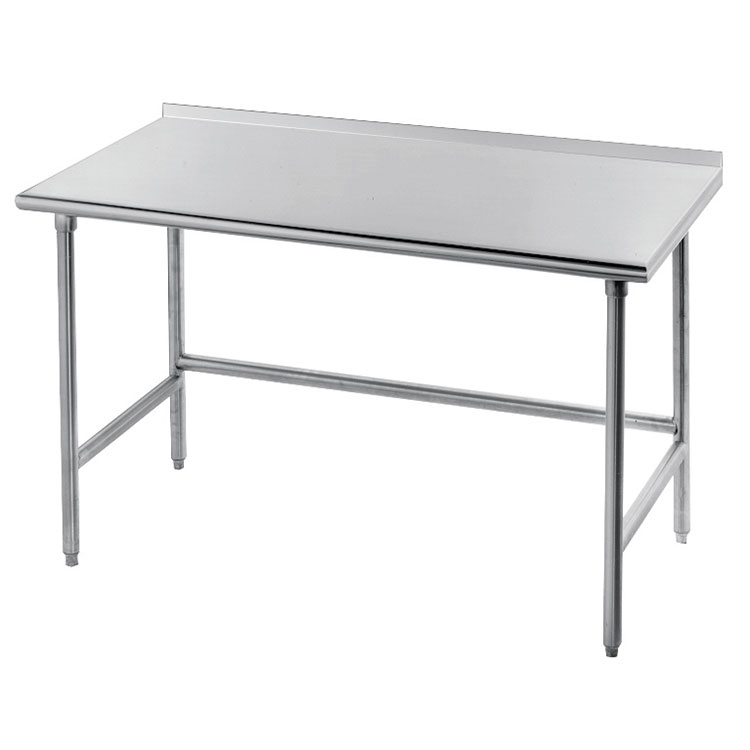 "Advance Tabco TFLG-3011 132"" 14-ga Work Table w/ Open Base & 304-Series Stainless Top, 1.5"" Backsplash"