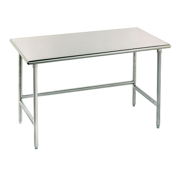"Advance Tabco TGLG-3610 120"" 14-ga Work Table w/ Open Base & 304-Series Stainless Flat Top"