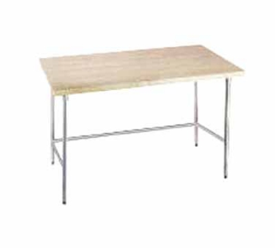 Advance Tabco TH2G-367 36 x 84 in L Table w/o Splash Galvanized Open Base 1- 3/4 in Thick Wood Top Restaurant Supply