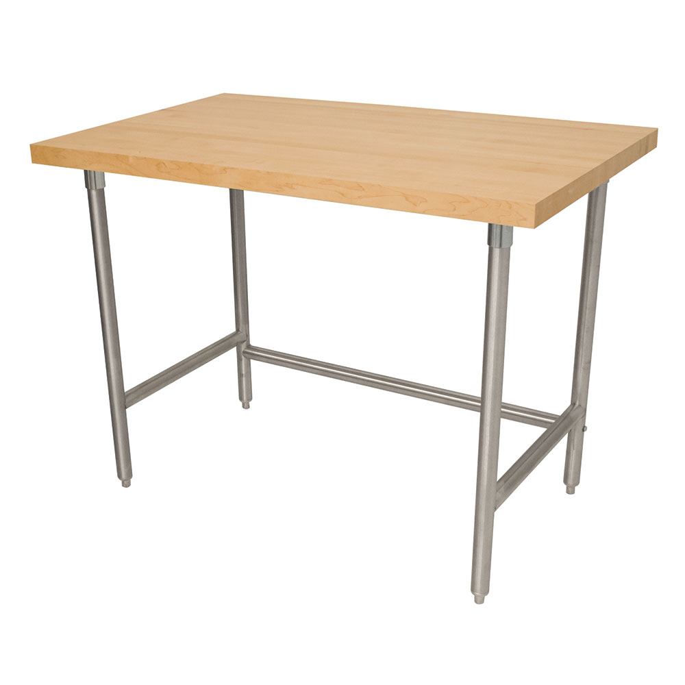 "Advance Tabco TH2S-248RE 96"" Residential Work Table - 1.75"" Wood Top, Open Base, 24"" W, Stainless"