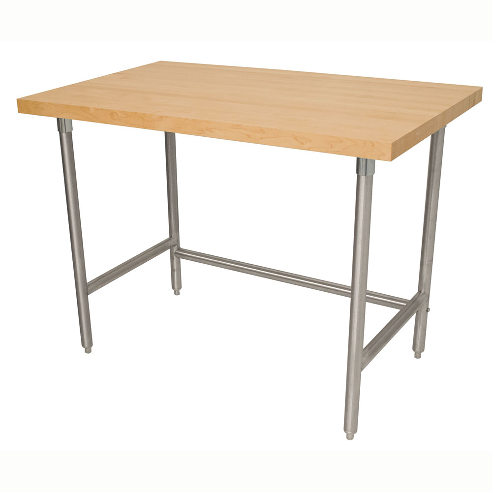 "Advance Tabco TH2S-308 1.75"" Maple Top Work Table w/ Open Base, 96""L x 30""D"