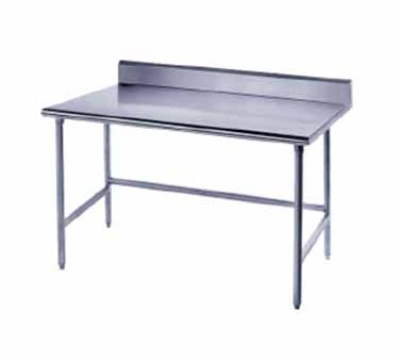 Advance Tabco TKAG-2412 24 x 144 in L Table 5 in Backsplash Galvanized Legs 16 Gauge 304 SS Top Restaurant Supply
