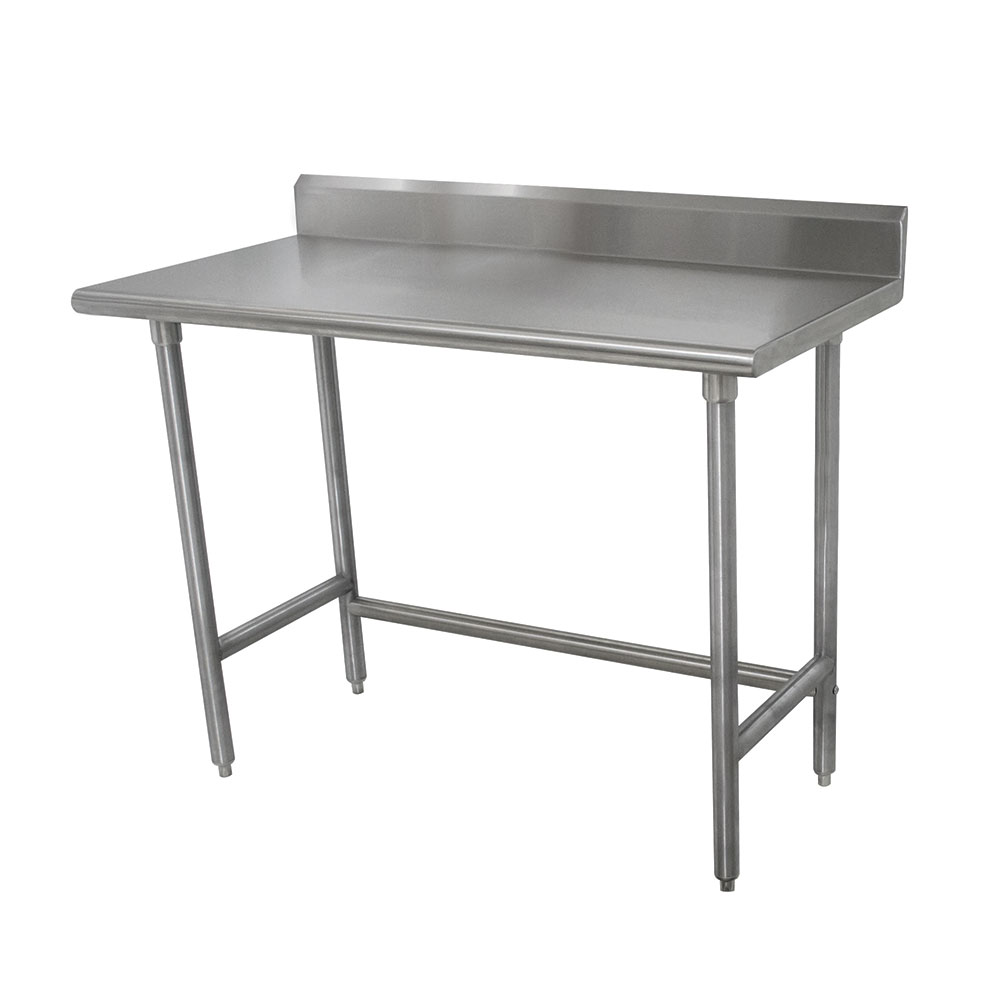 "Advance Tabco TKMSLAG-308 96"" 16-ga Work Table w/ Open Base & 304-Series Stainless Top, 5"" Backsplash"