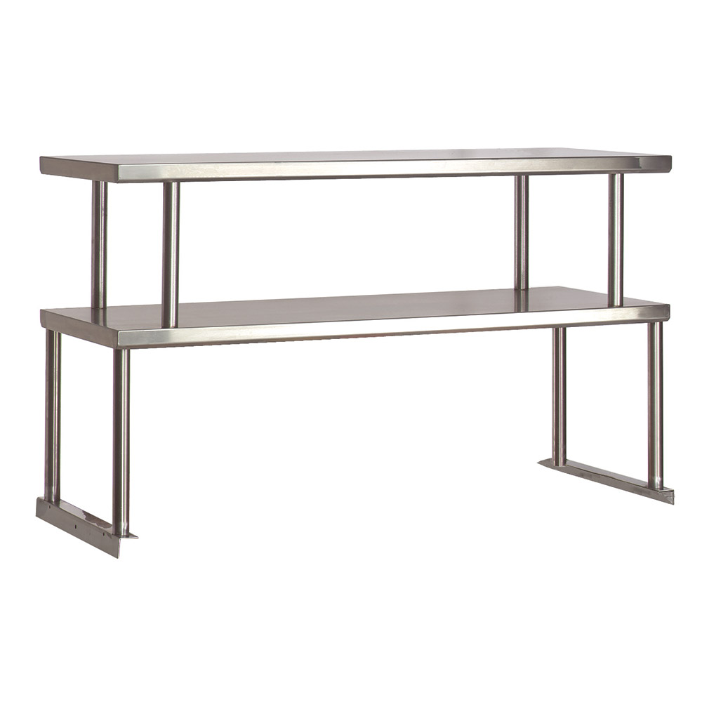 "Advance Tabco TOS-4 Double Table Mounted Overshelf, 62-3/8 x 12"", Stainless"