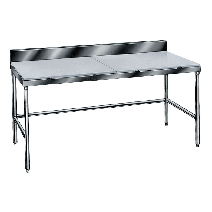 "Advance Tabco TSPS-248 96"" Poly Top Work Table w/  6"" Backsplash & 5/8"" Top, Stainless Base, 24""D"