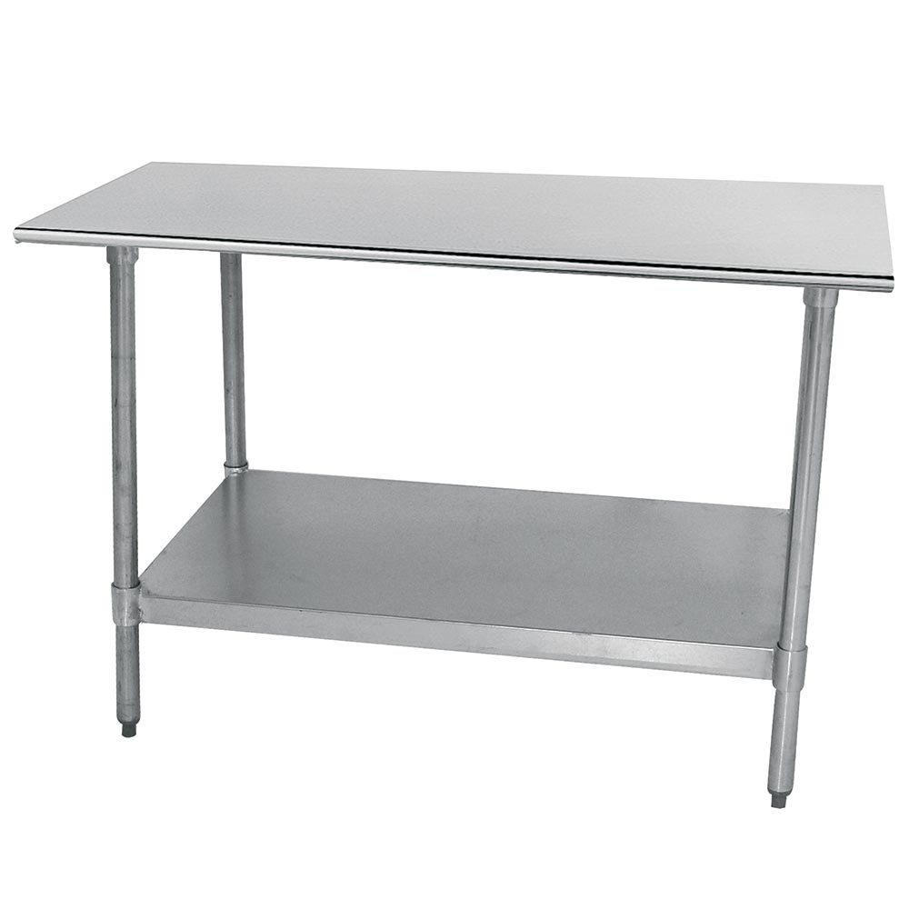 "Advance Tabco TT-306 30"" x 72"" 18-ga Work Table w/ Undershelf & 430-Series Stainless Flat Top"
