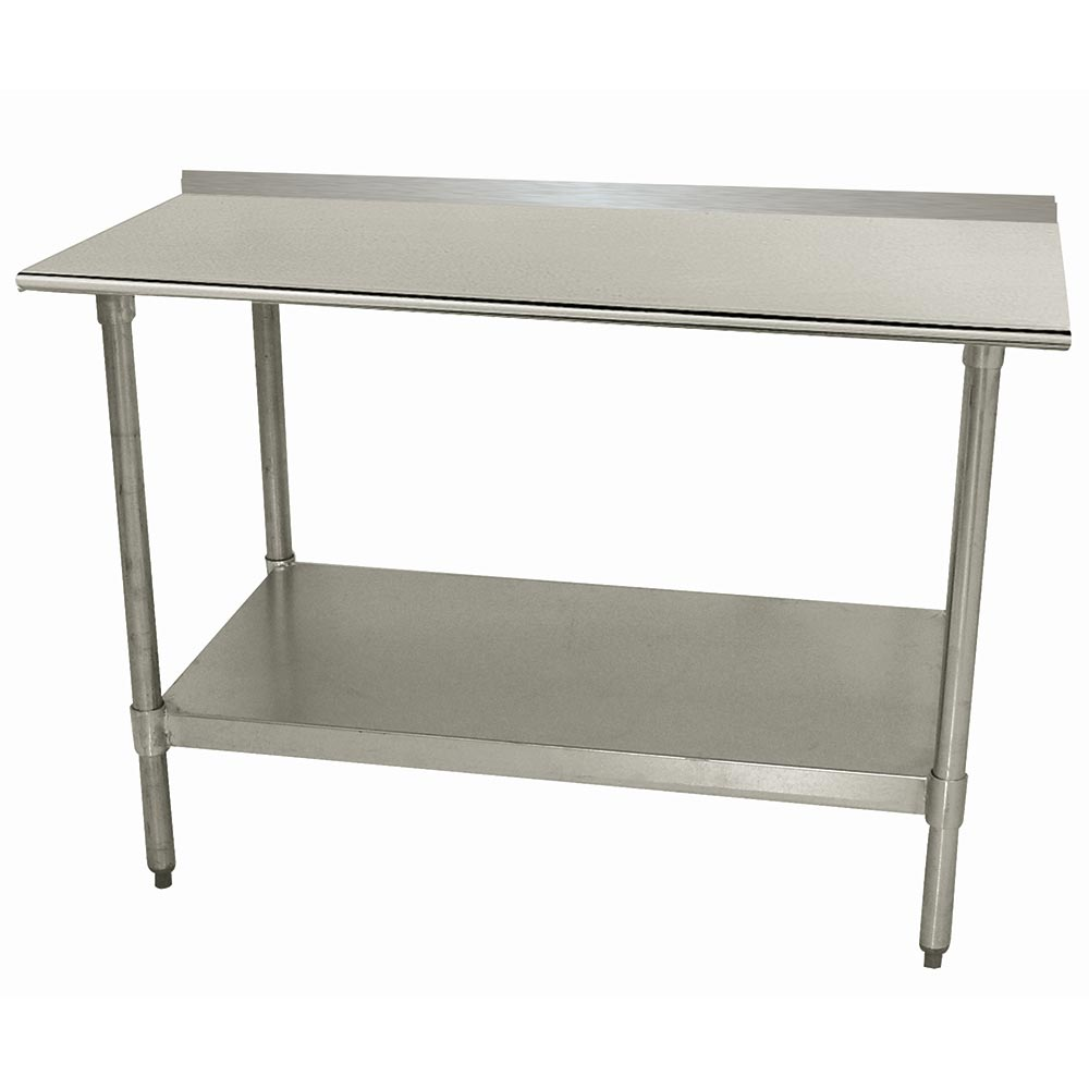 "Advance Tabco TTF-305 60"" 18-ga Work Table w/ Undershelf & 430-Series Stainless Top, 1.5"" Backsplash"