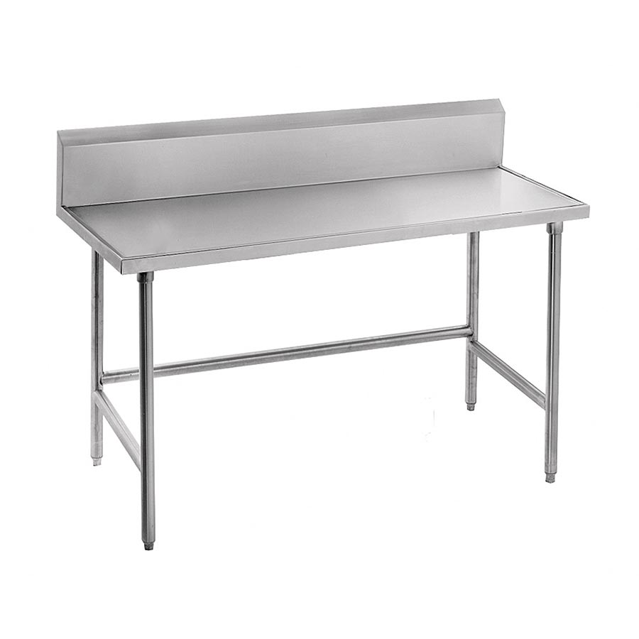 "Advance Tabco TVKS-308 96"" 14-ga Work Table w/ Open Base & 304-Series Stainless Marine Top, 10"" Backsplash"