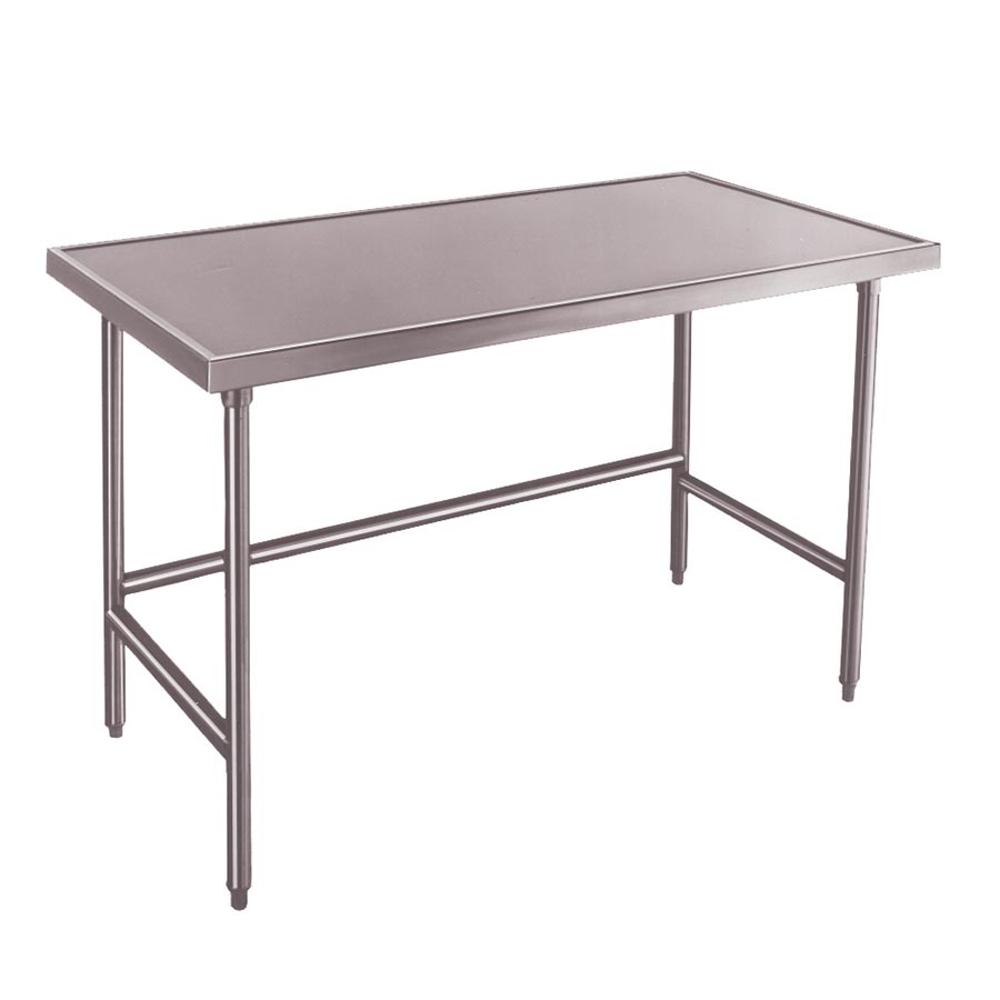 "Advance Tabco TVLG-3011 132"" 14-ga Work Table w/ Open Base & 304-Series Stainless Marine Top"