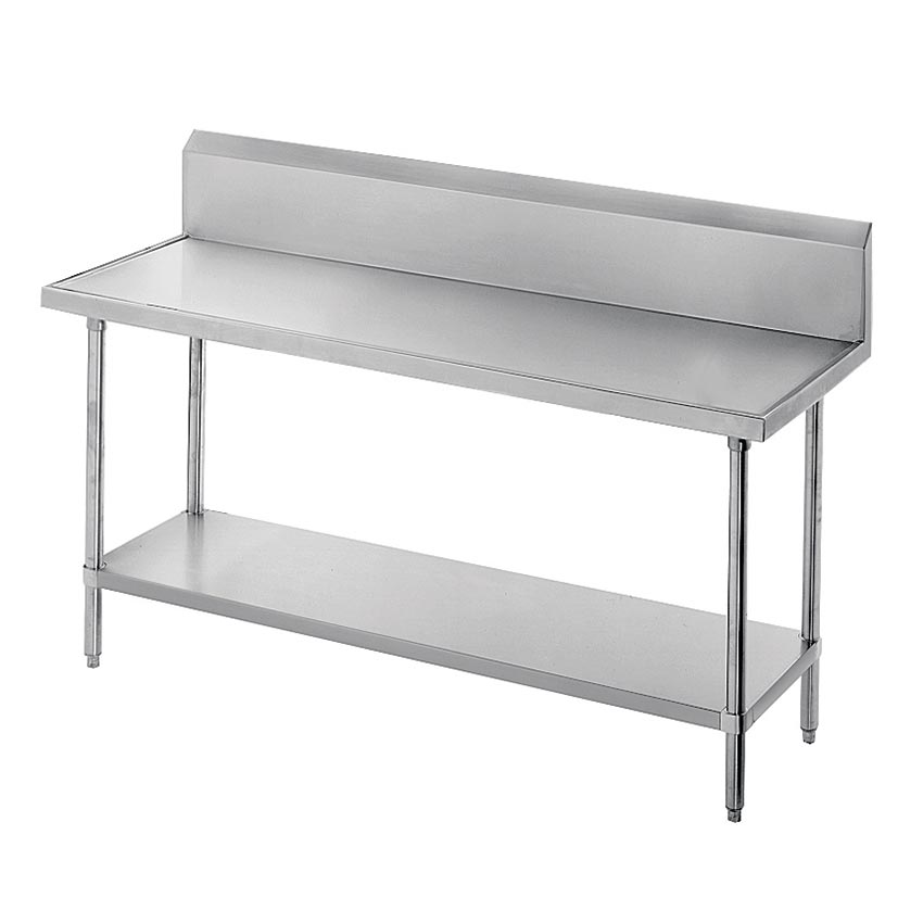 "Advance Tabco VKG-3011 132"" 14-ga Work Table w/ Undershelf & 304-Series Stainless Marine Top, 10"" Backsplash"