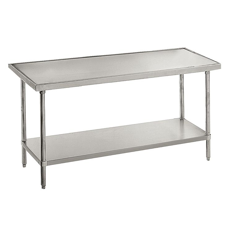 "Advance Tabco VLG-2411 132"" 14-ga Work Table w/ Undershelf & 304-Series Stainless Marine Top"