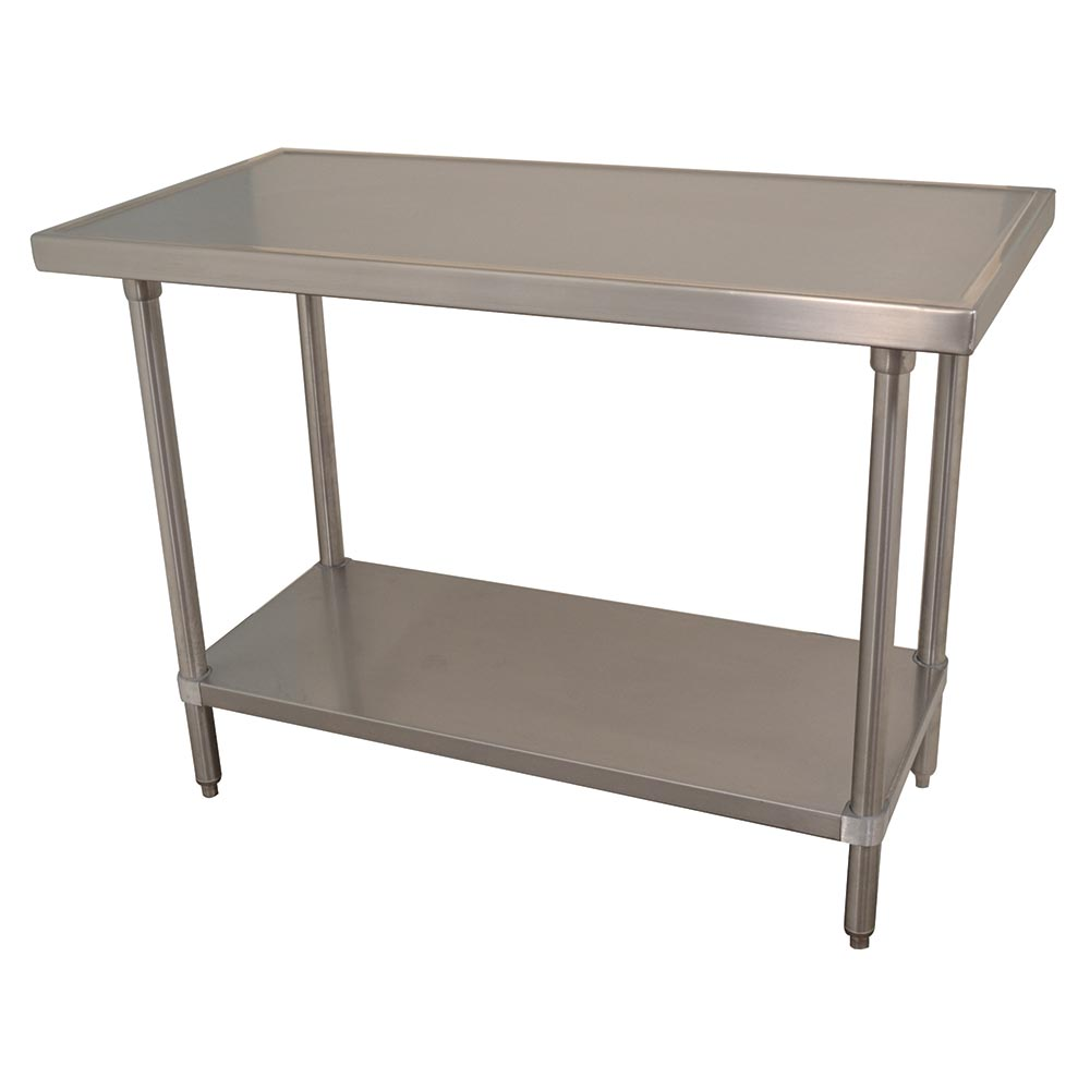 "Advance Tabco VSS-489 108"" 14-ga Work Table w/ Undershelf & 304-Series Stainless Marine Top"
