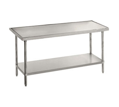 Advance Tabco VSS-2411 24 x 132 in L Table 14G SS No Drip Top Galv w/o Splash 16G SS Legs & Feet Restaurant Supply