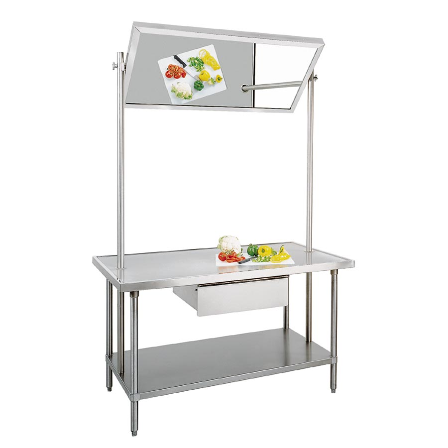 "Advance Tabco VSS-DT-366 72"" Demo Table - Tilting Mirror, Undershelf, All Stainless"