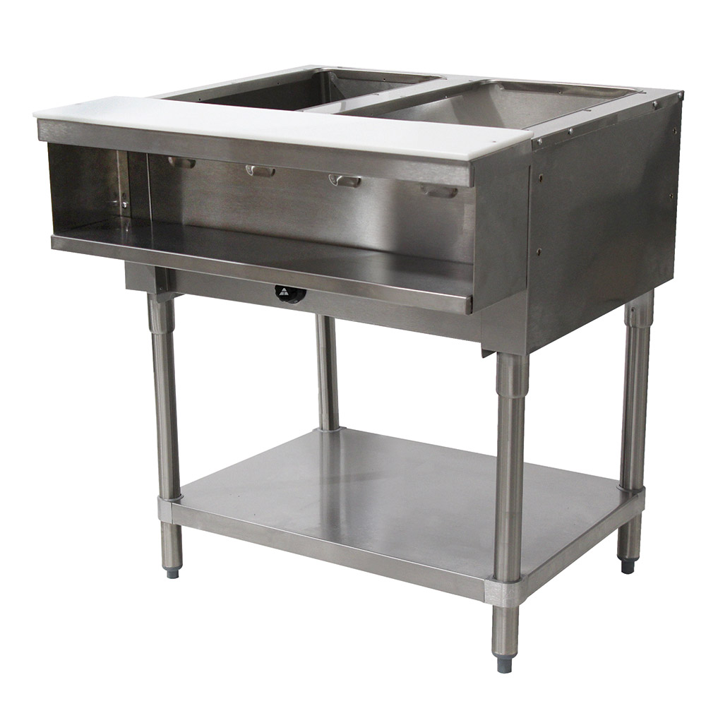 "Advance Tabco WB-2G-NAT Water Bath Hot Food Table, 31-13/16"", Open Base w/ Undershelf, NG"