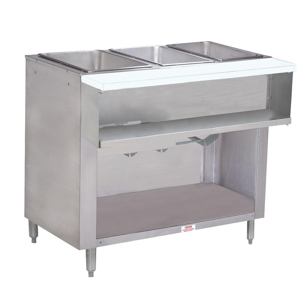 "Advance Tabco WB-3G-NAT-BS Water Bath Hot Food Table, 47-1/8"", Cabinet Base w/ Open Undershelf, NG"