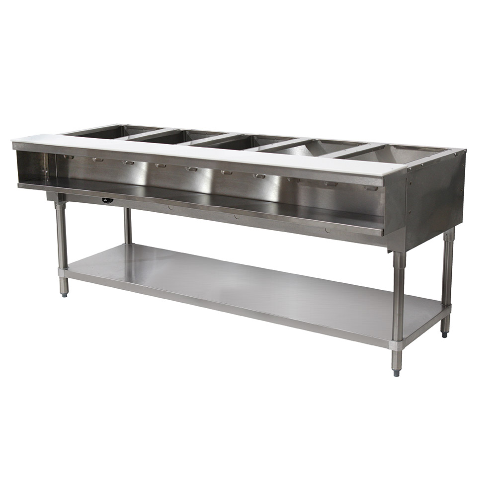 "Advance Tabco WB-5G-NAT Water Bath Hot Food Table, 77-9/12"", Open Base w/ Undershelf, NG"