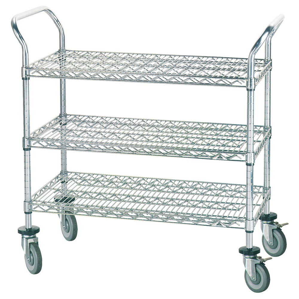 "Advance Tabco WUC-2436R Wire Utility Cart - (3) Shelf, 24x36"", Rubber Casters, Chrome Finish"