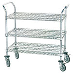 Advance Tabco WUC-2442R 3-Level Chrome Plated Utility Cart w/ 800-lb Capacity, Flat Ledges