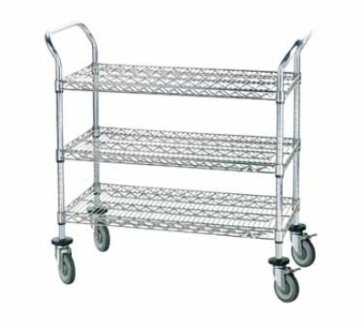 Advance Tabco WUC-1842R Wire Utility Cart 42 x 18 in Open 3 Shelves 4 Swivel Rubber Casters Restaurant Supply