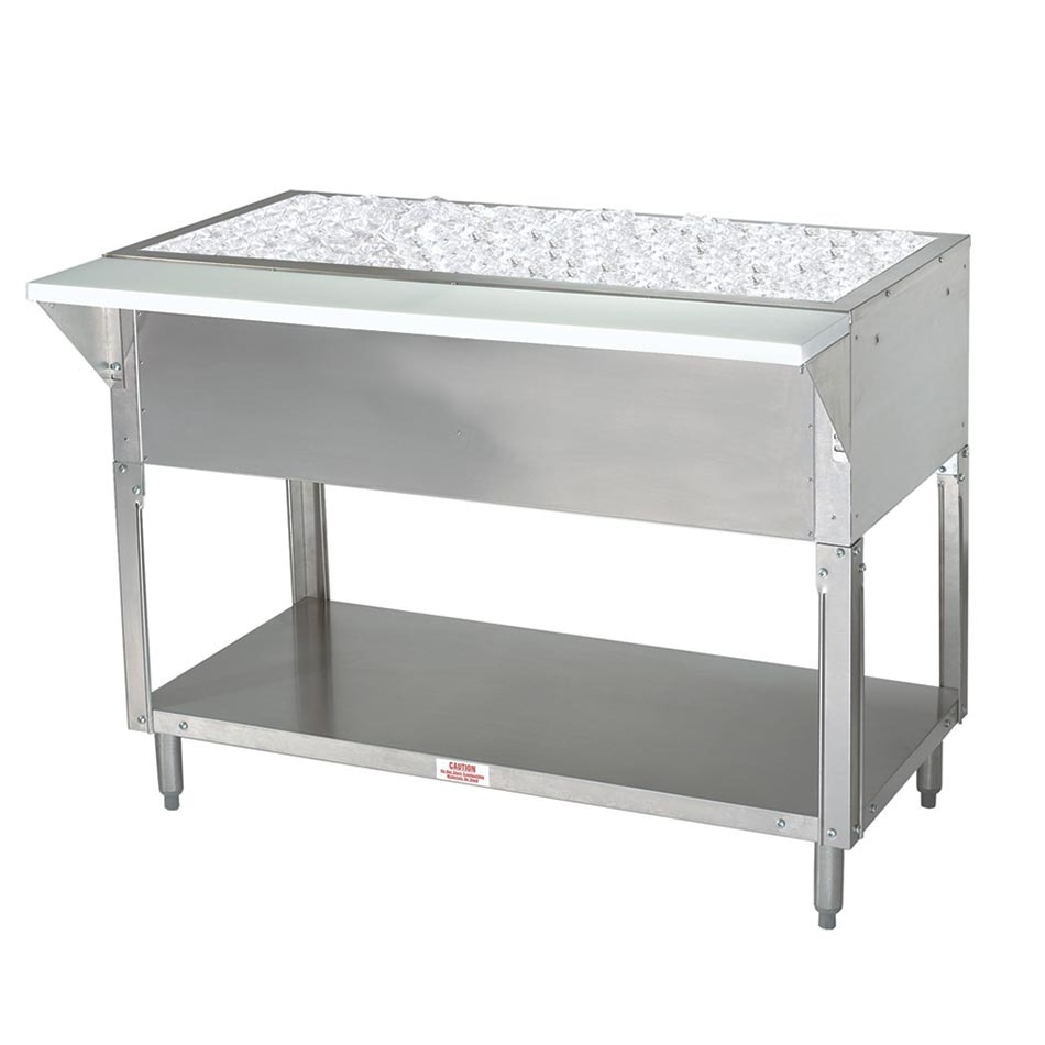 "Advance Tabco CPU-5 34"" Cold Pan Table, Open Base w/ Undershelf, 77-9/12"" Long"
