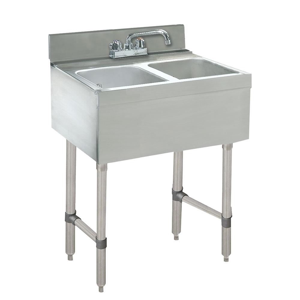 "Advance Tabco CRB-22C-X 24"" Underbar Work Board 2-Sink Compartment Unit, Deck Mounted Faucet"