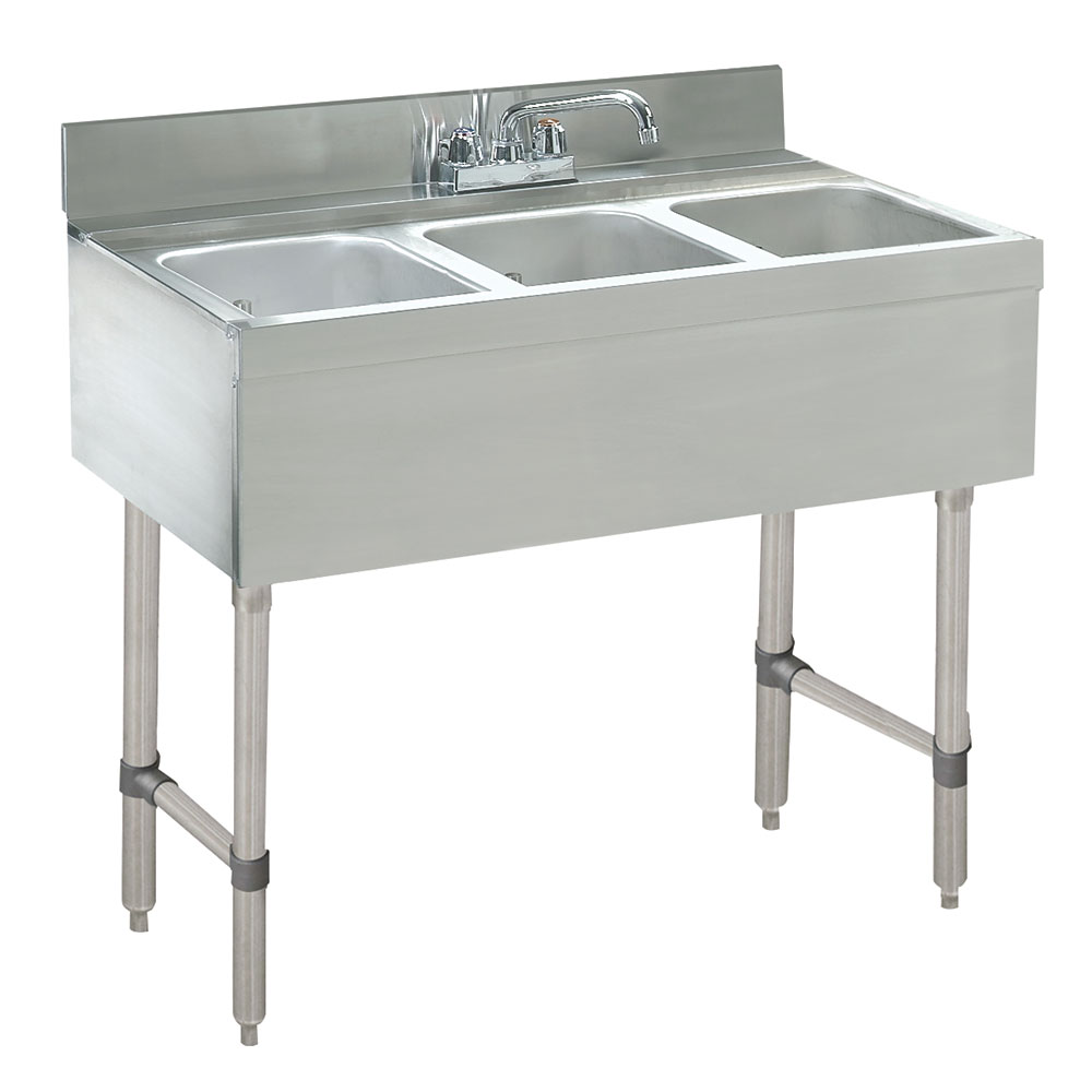 "Advance Tabco CRB-33C 36"" 3-Compartment Sink w/ 10""L x 14""W Bowl, 10"" Deep"