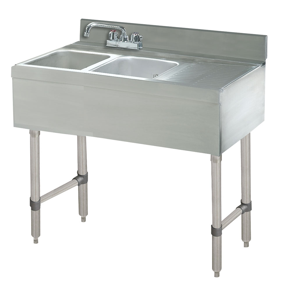 "Advance Tabco CRB-42R 48"" 2-Compartment Sink w/ 10""L x 14""W Bowl, 10"" Deep"