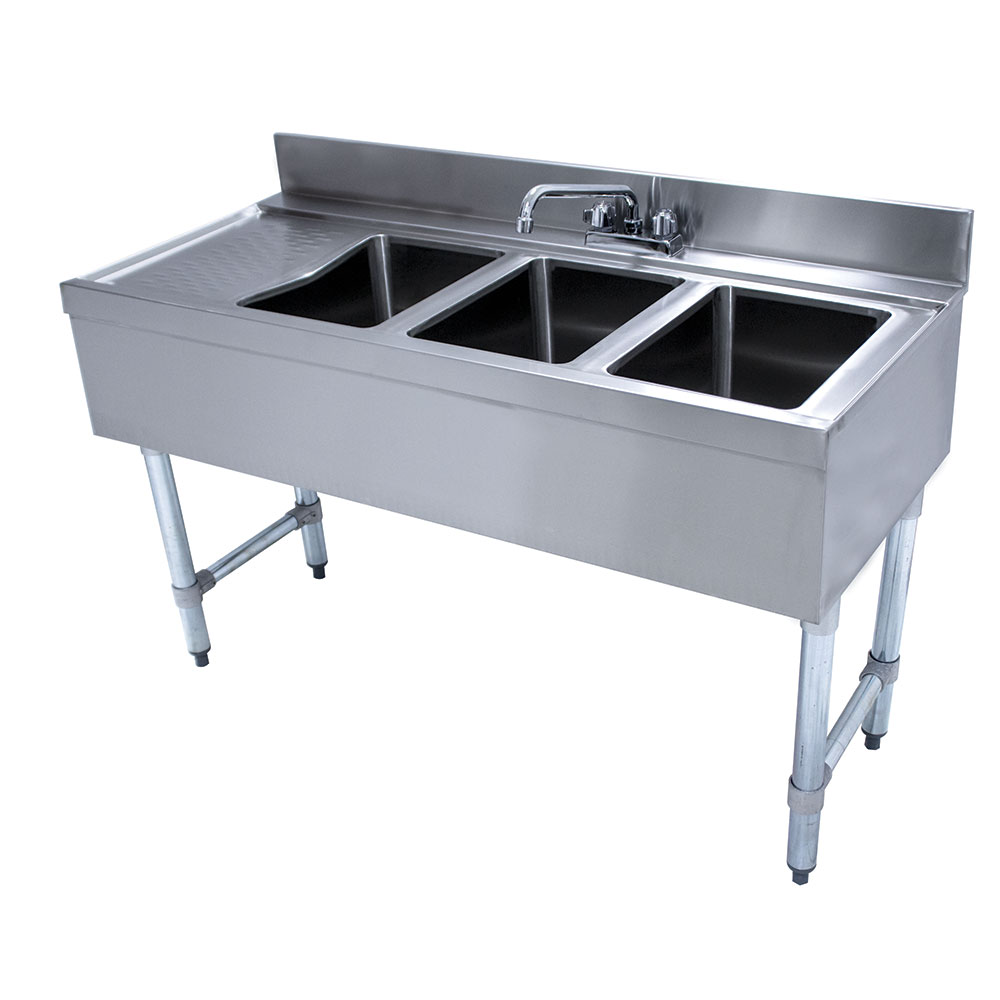 "Advance Tabco CRB-43R-X 48"" 3-Compartment Sink w/ 10""L x 14""W Bowl, 10"" Deep"