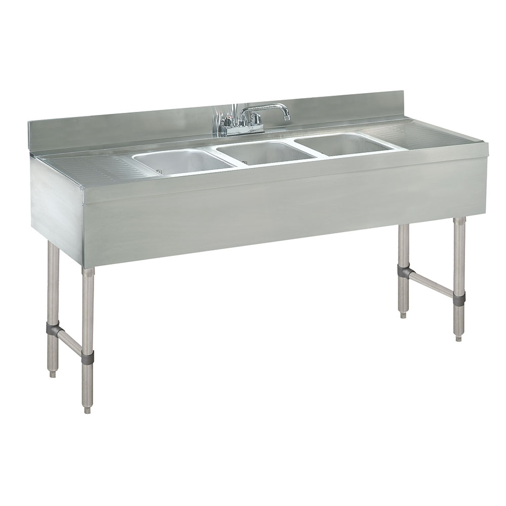 "Advance Tabco CRB-83C 96"" 3-Compartment Sink w/ 10""L x 14""W Bowl, 10"" Deep"
