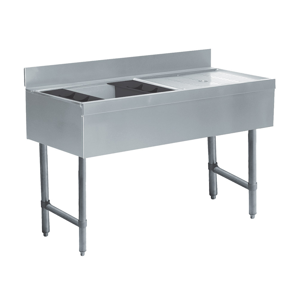 "Advance Tabco CRW4L 47"" Ice Bin Cocktail Station w/ Right Drainboard, 75-lb Ice Capacity"