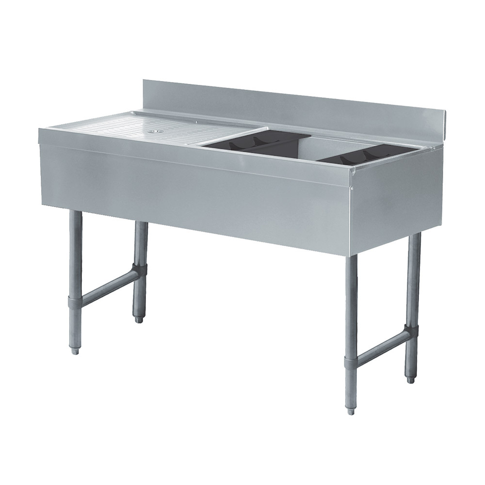 "Advance Tabco CRW-4R-7 48"" Ice Bin Cocktail Station w/ Left Drainboard, Chest w/ Cold Plate"