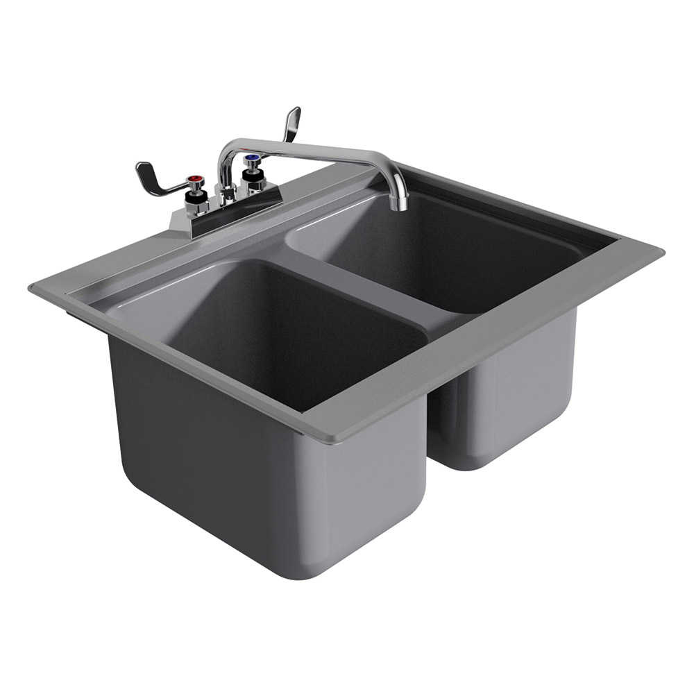 "Advance Tabco DBS-2 24"" 2-Compartment Sink w/ 10""L x 14""W Bowl, 10"" Deep"