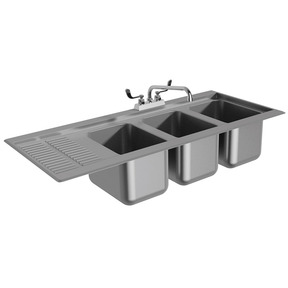 "Advance Tabco DBS-43L 48"" 3-Compartment Sink w/ 10""L x 14""W Bowl, 10"" Deep"