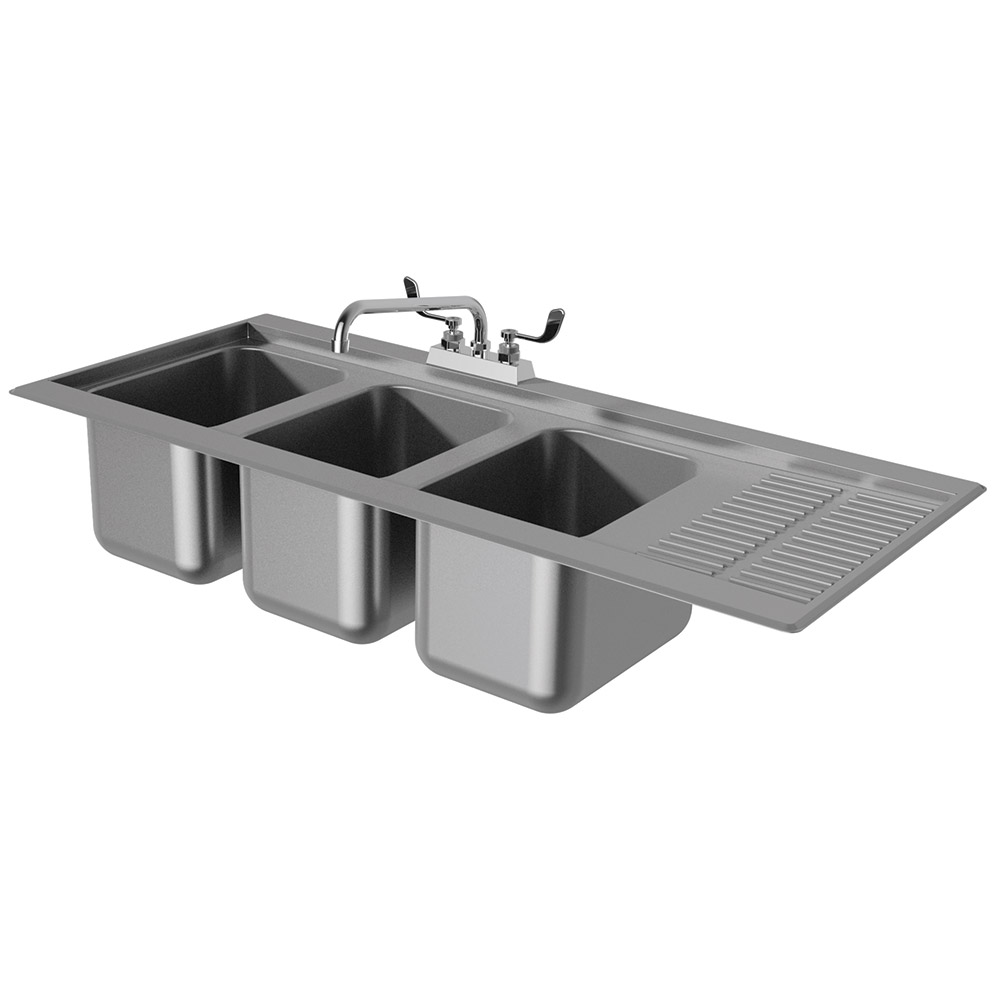"Advance Tabco DBS-43R 48"" 3-Compartment Sink w/ 10""L x 14""W Bowl, 10"" Deep"