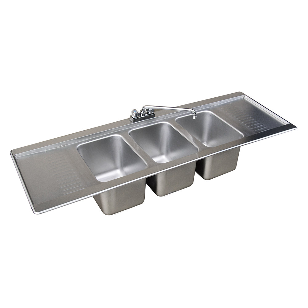"Advance Tabco DBS-53C 60"" 2-Compartment Sink w/ 10""L x 14""W Bowl, 10"" Deep"