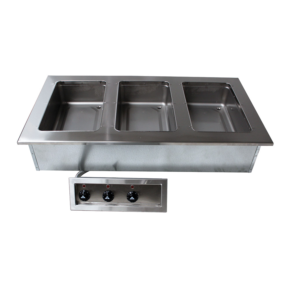 "Advance Tabco DISW-3-120 47-1/8"" Drop-In Hot Food 3-Well Unit w/ Infinite Controls, 120 V"