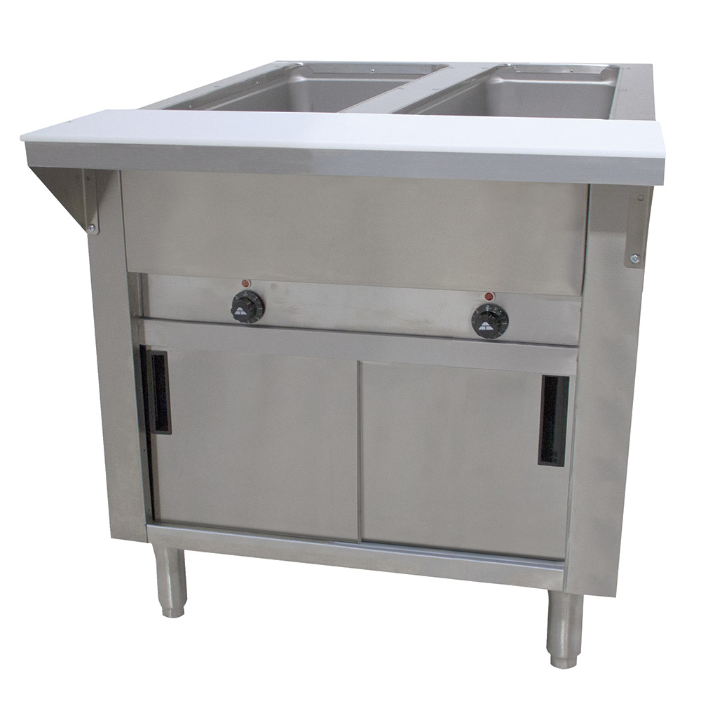 "Advance Tabco HF-2E-120-DR 34"" Hot Food Table w/ 2-Wells, Cabinet Base w/ Sliding Doors"