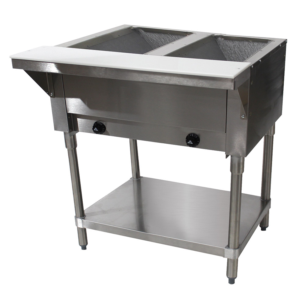 "Advance Tabco HF-2G-LP 34"" Hot Food Table w/ 2-Wells, Open Base w/ Undershelf, LP"