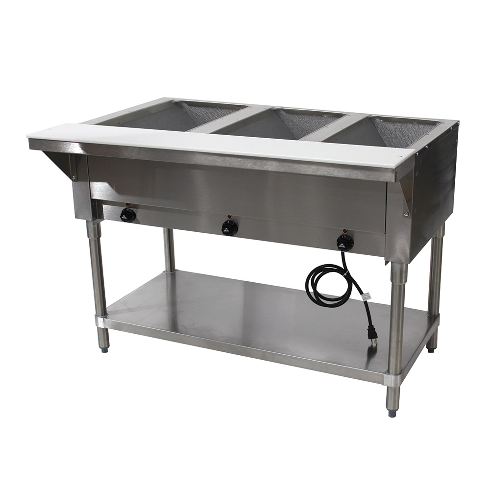 "Advance Tabco HF-3E-120-X 34"" Hot Food Table w/ 3-Wells, Open Stainless Base w/ Undershelf"