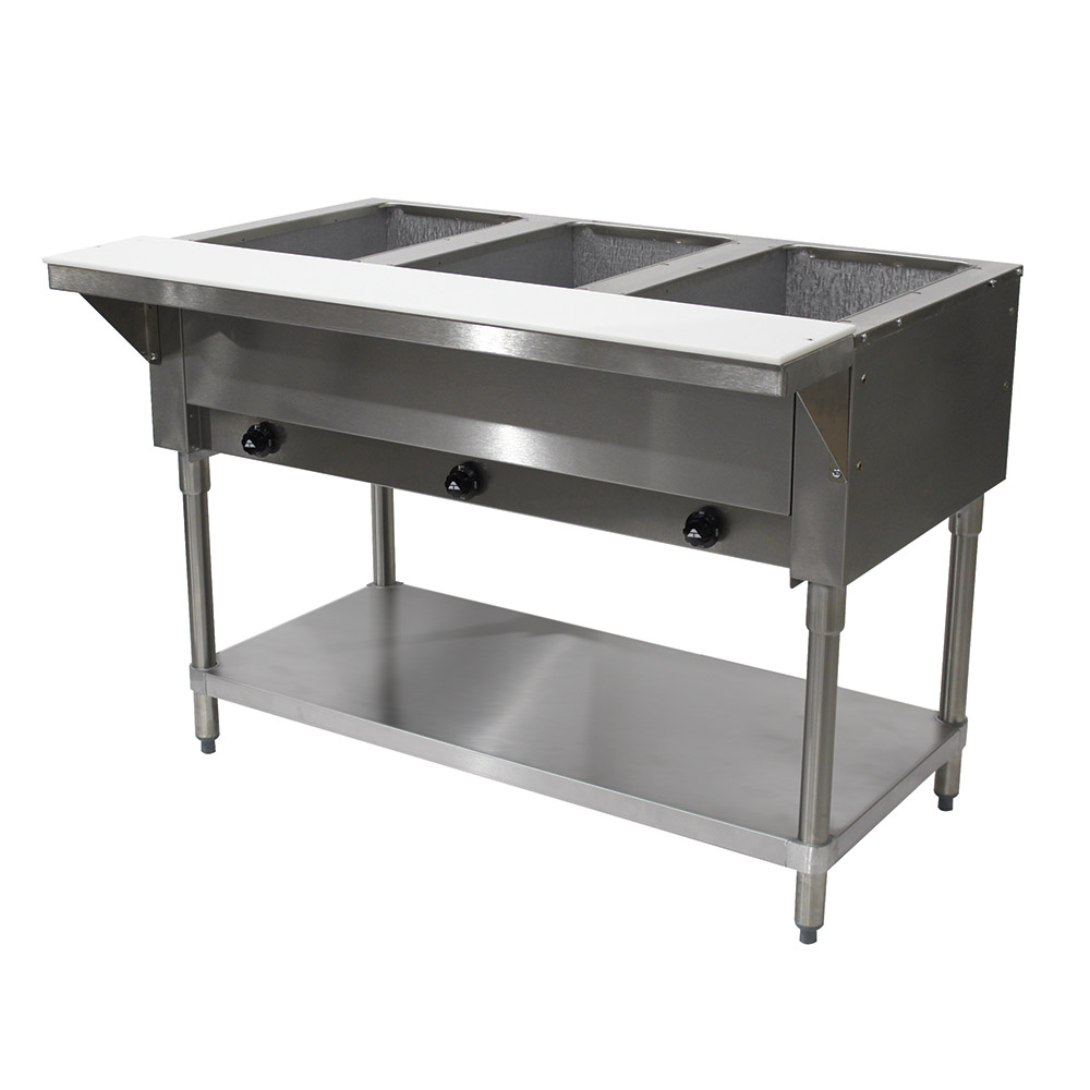 "Advance Tabco HF-3G-NAT-X 34"" Hot Food Table w/ 3-Wells, Open Base w/ Undershelf, NG"