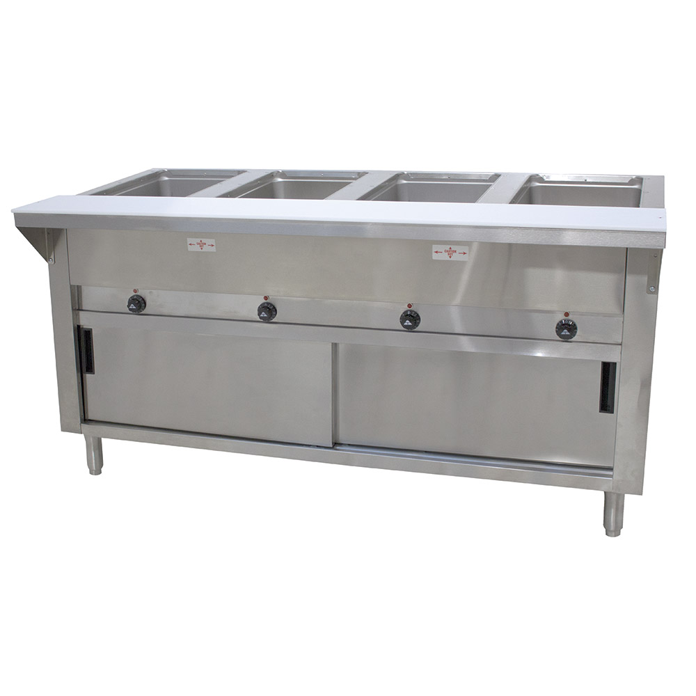 "Advance Tabco HF-4E-120-DR 34"" Hot Food Table w/ 4-Wells, Cabinet Base w/ Sliding Doors"