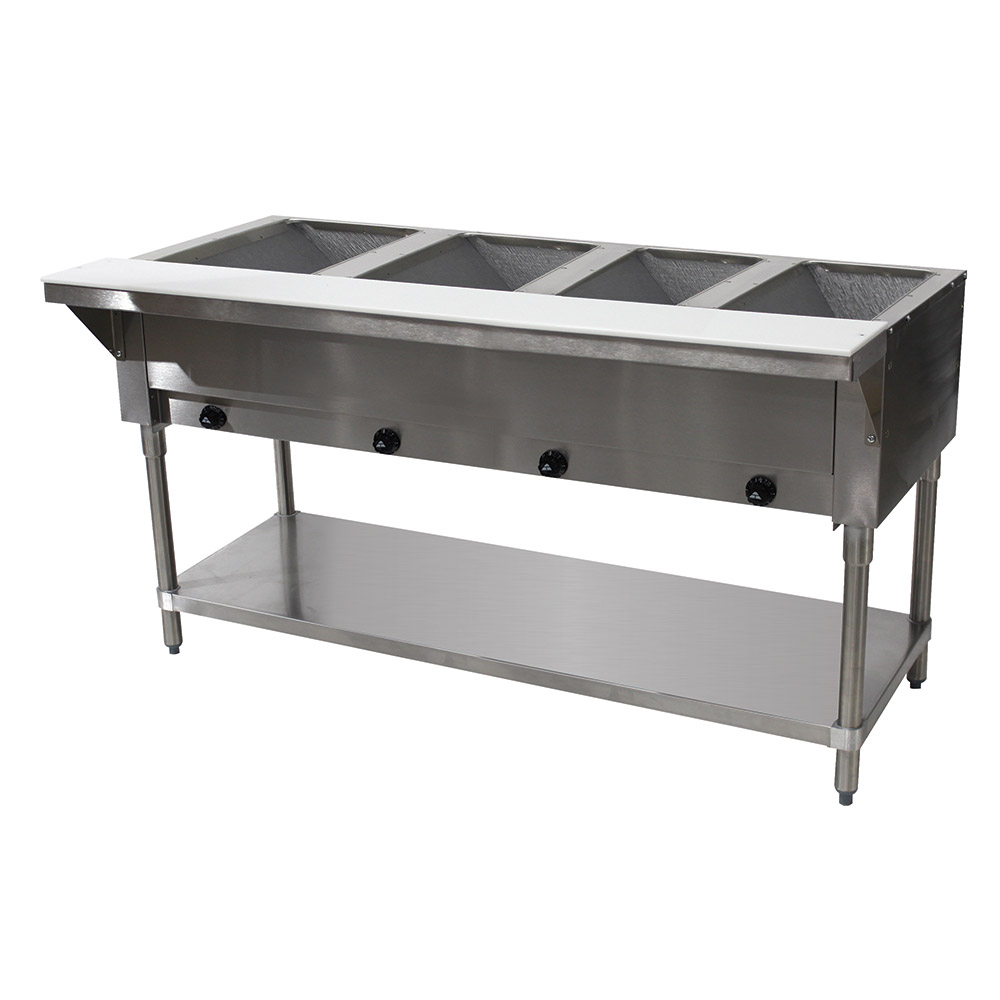 "Advance Tabco HF-4G-NAT-X 34"" Hot Food Table w/ 4-Stainless Wells, Open Base w/ Undershelf, NG"
