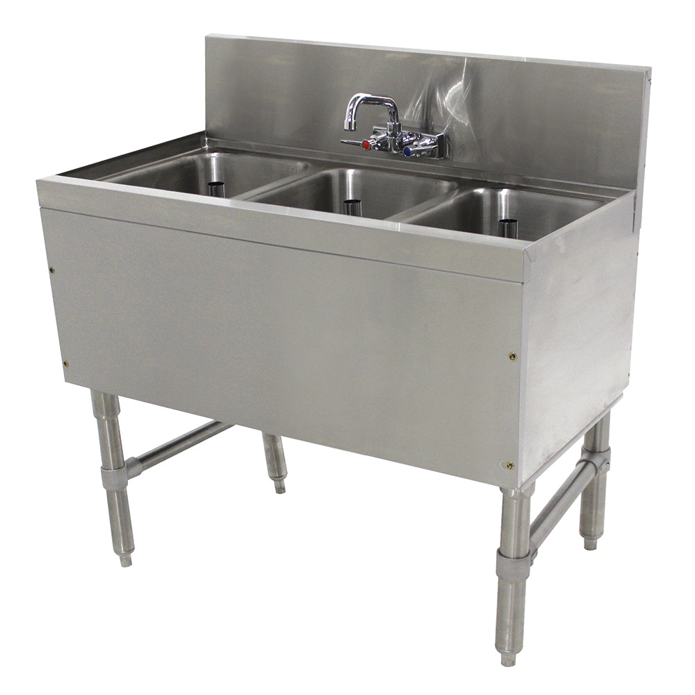 "Advance Tabco PRB-19-33C 36"" 3-Compartment Sink w/ 10""L x 14""W Bowl, 10"" Deep"