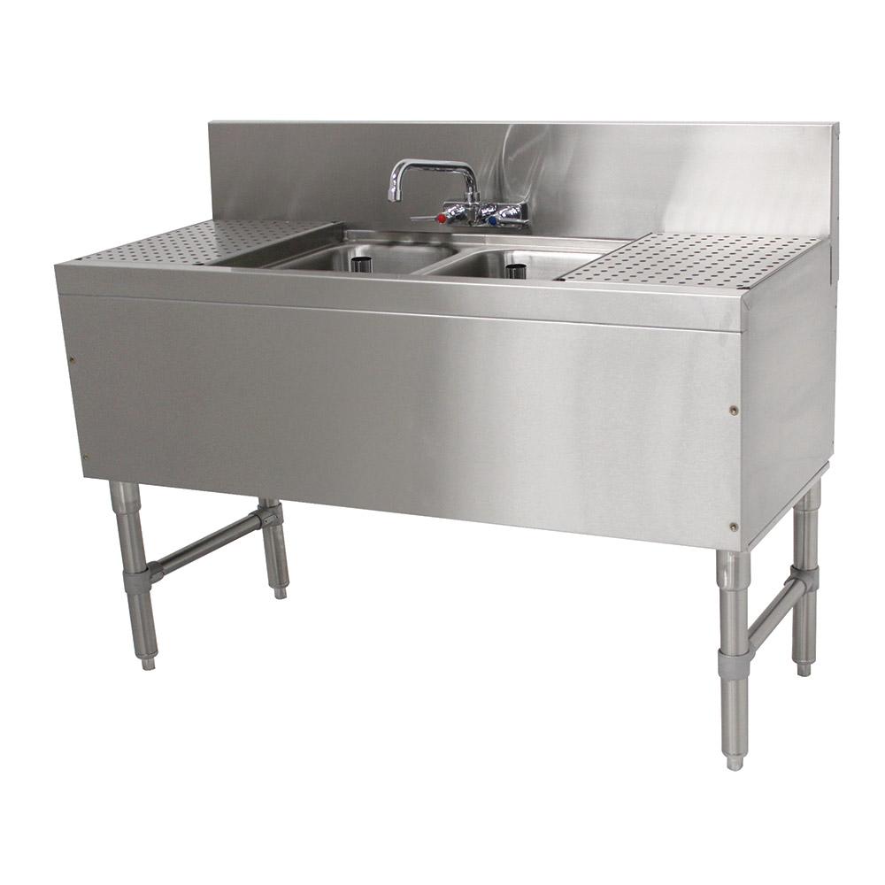 """Advance Tabco PRB-19-42C 48"""" 2-Compartment Sink w/ 10""""L x 14""""W Bowl, 10"""" Deep"""