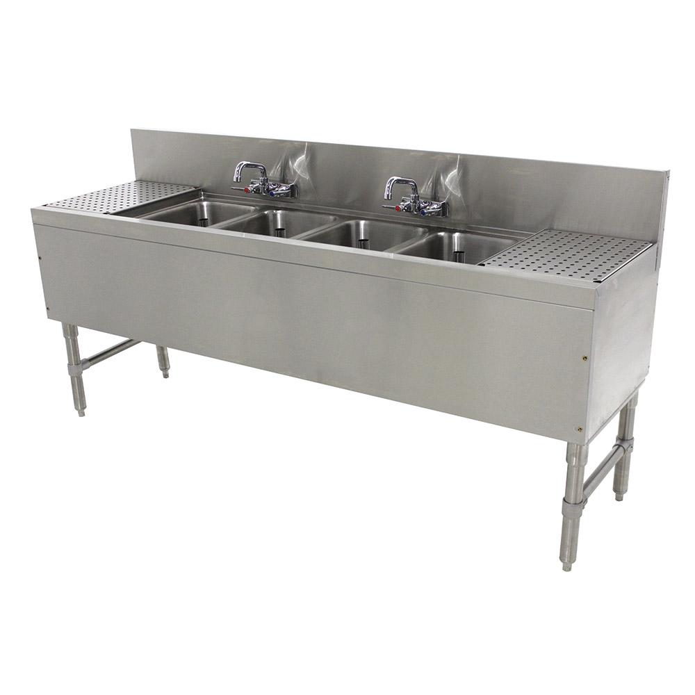 """Advance Tabco PRB-19-74C 84"""" 4-Compartment Sink w/ 10""""L x 14""""W Bowl, 10"""" Deep"""