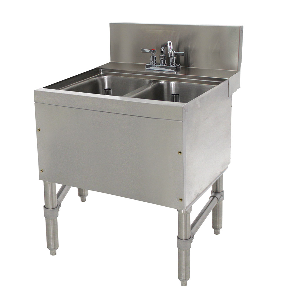 "Advance Tabco PRB-24-22C 24"" 2-Compartment Sink w/ 10""L x 14""W Bowl, 10"" Deep"