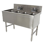 "Advance Tabco PRB-24-44C 48"" 4-Compartment Sink w/ 10""L x 14""W Bowl, 10"" Deep"